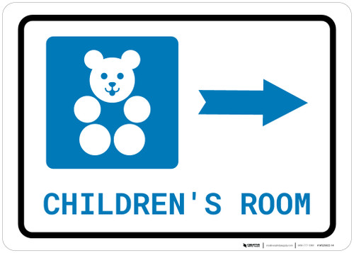 Children's Room Right Arrow with Icon Landscape - Wall Sign