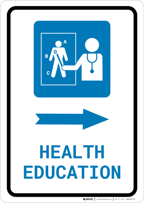 Health Education Right Arrow with Icon Portrait - Wall Sign