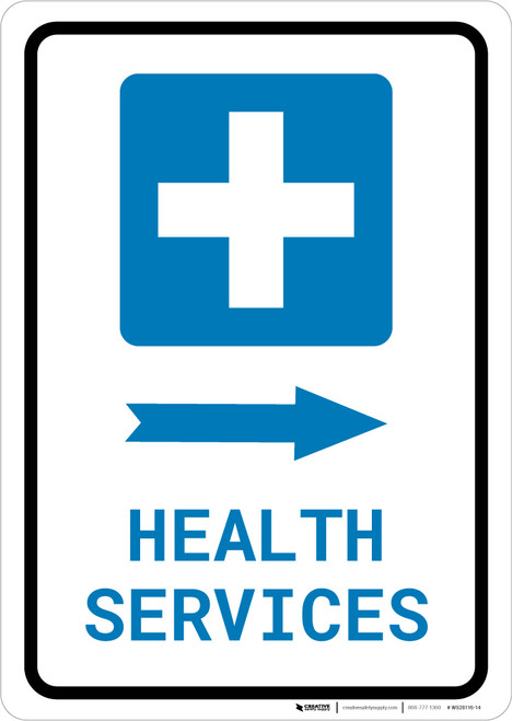 Health Services Right Arrow with Icon Portrait - Wall Sign