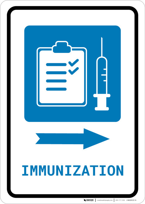 Immunization Right Arrow with Icon Portrait - Wall Sign