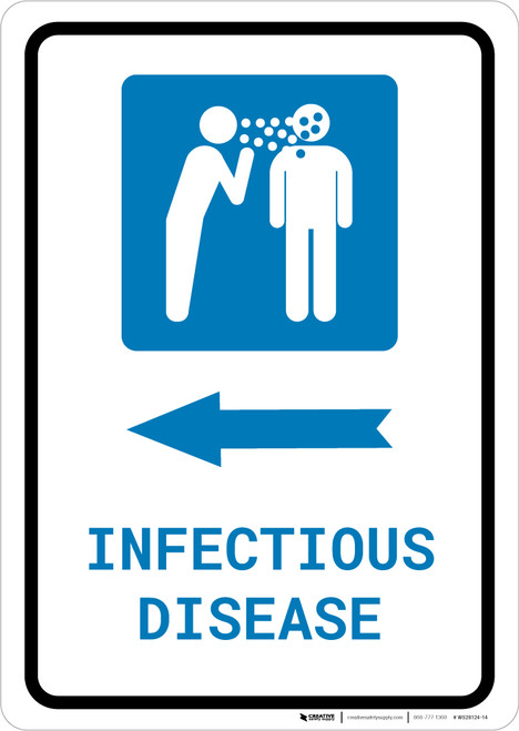 Infectious Disease Left Arrow with Icon Portrait - Wall Sign
