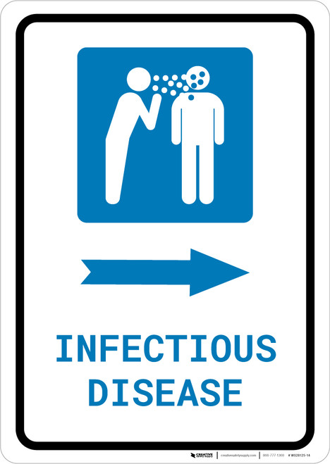 Infectious Disease Right Arrow with Icon Portrait - Wall Sign