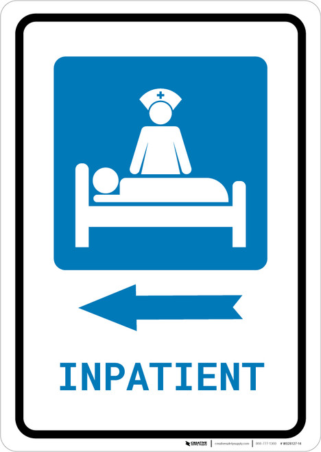 Inpatient Left Arrow with Icon Portrait - Wall Sign