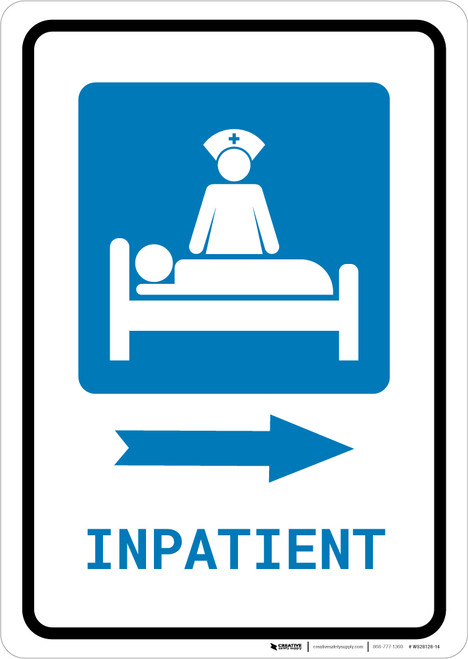 Inpatient Right Arrow with Icon Portrait - Wall Sign