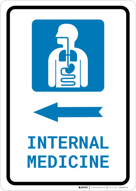 Internal Medicine Left Arrow with Icon Portrait - Wall Sign