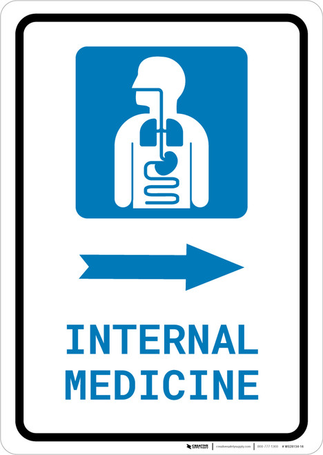 Internal Medicine Right Arrow with Icon Portrait - Wall Sign