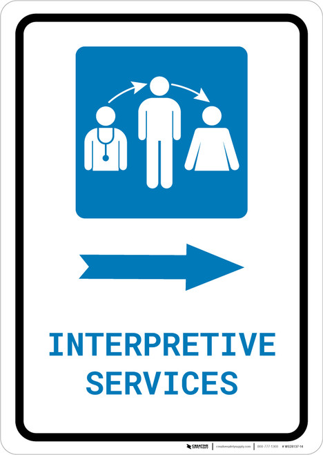 Interpretive Services Right Arrow with Icon Portrait - Wall Sign