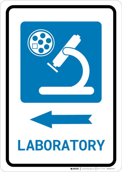 Laboratory Left Arrow with Icon Portrait - Wall Sign