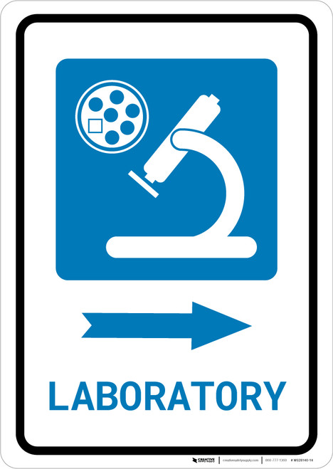 Laboratory Right Arrow with Icon Portrait - Wall Sign