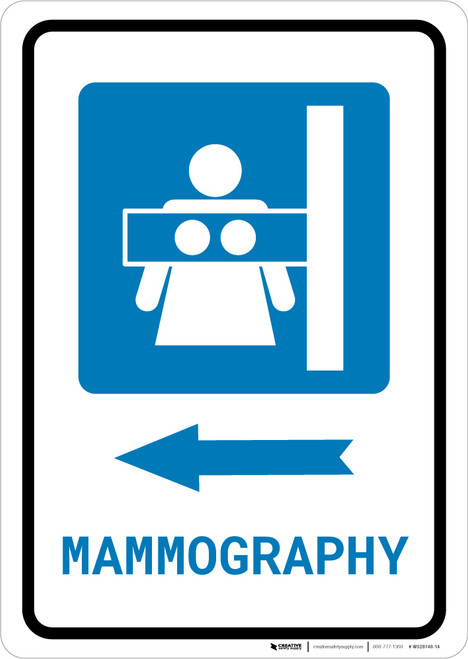 Mammography Left Arrow with Icon Portrait - Wall Sign