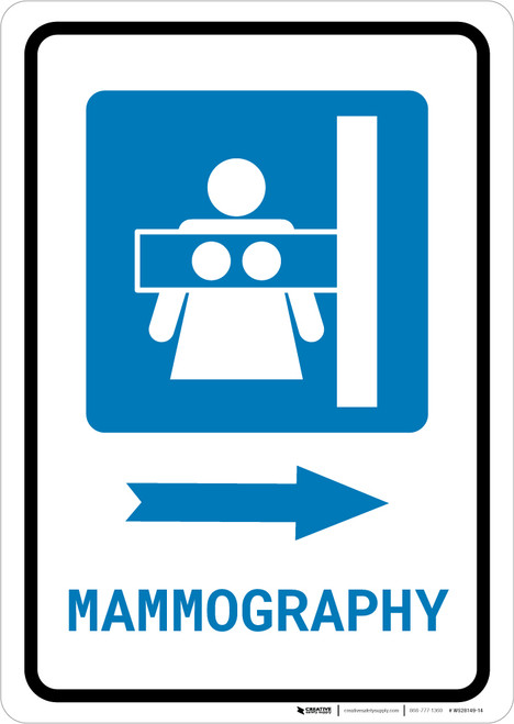 Mammography Right Arrow with Icon Portrait - Wall Sign