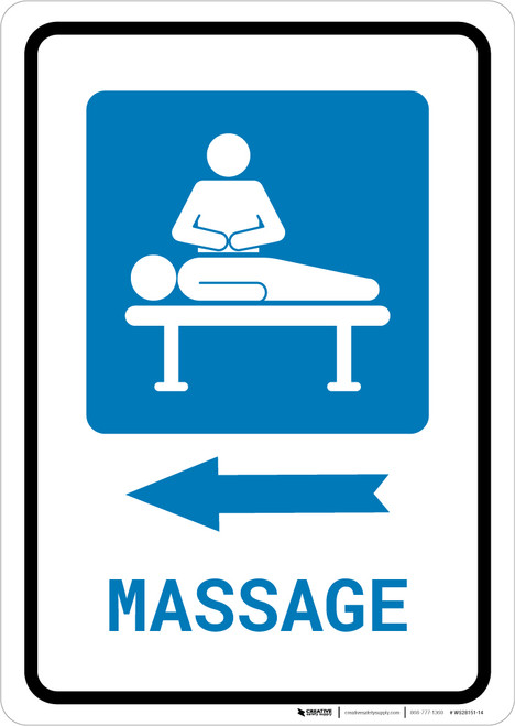 Massage Left Arrow with Icon Portrait - Wall Sign