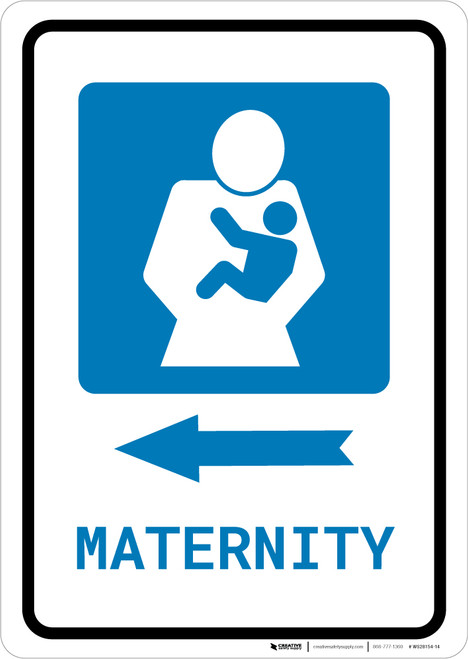 Maternity Left Arrow with Icon Portrait - Wall Sign