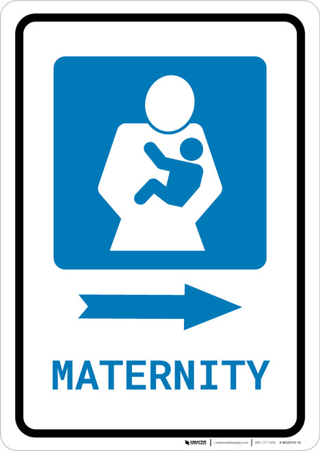 Maternity Right Arrow with Icon Portrait - Wall Sign