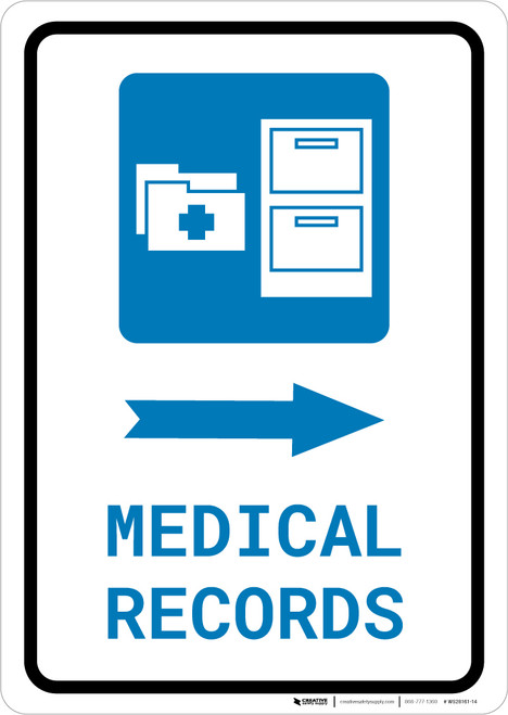 Medical Records Right Arrow with Icon Portrait - Wall Sign