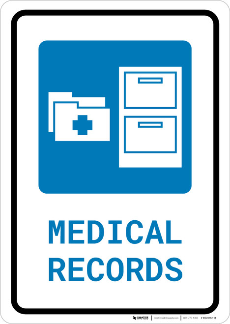 Medical Records with Icon Portrait - Wall Sign