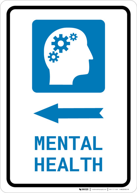 Mental Health Left Arrow with Icon Portrait - Wall Sign