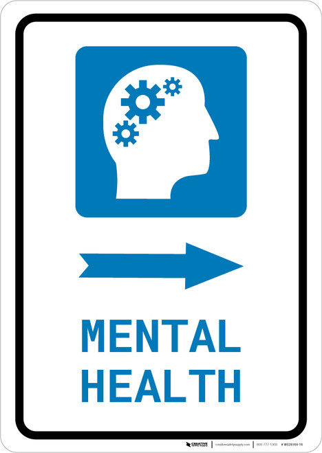 Mental Health Right Arrow with Icon Portrait - Wall Sign