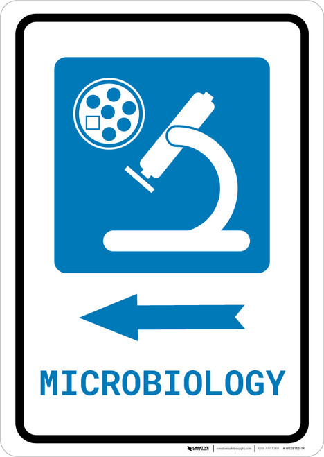 Microbiology Left Arrow with Icon Portrait - Wall Sign