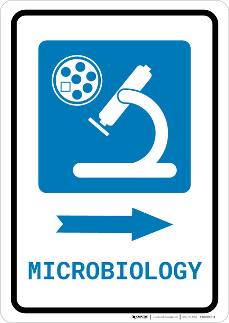 Microbiology Right Arrow with Icon Portrait - Wall Sign