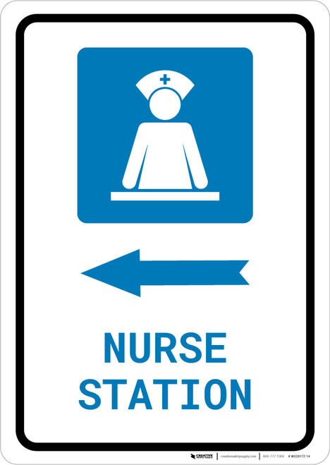 Nurse Station Left Arrow with Icon Portrait - Wall Sign