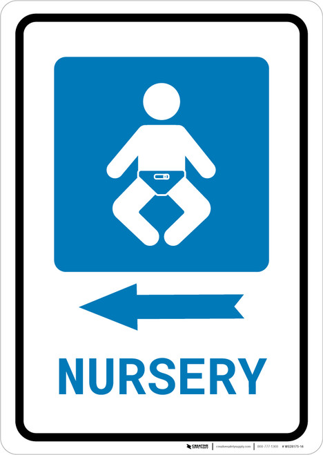 Nursery Left Arrow with Icon Portrait - Wall Sign