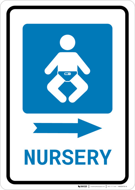 Nursery Right Arrow with Icon Portrait - Wall Sign