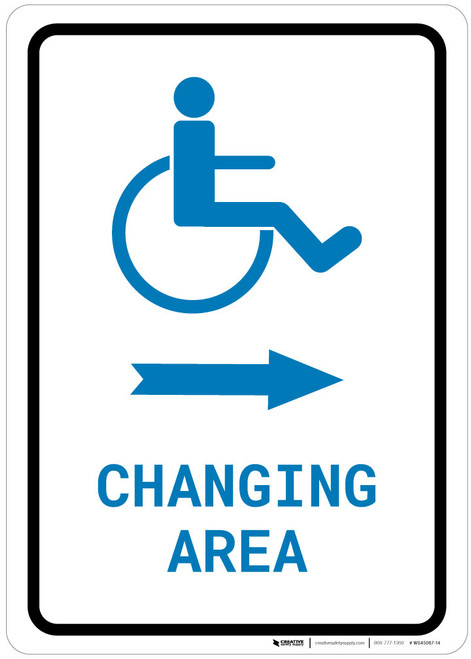ADA Accessible Changing Area Right Arrow with Icon Portrait v2 - Wall Sign