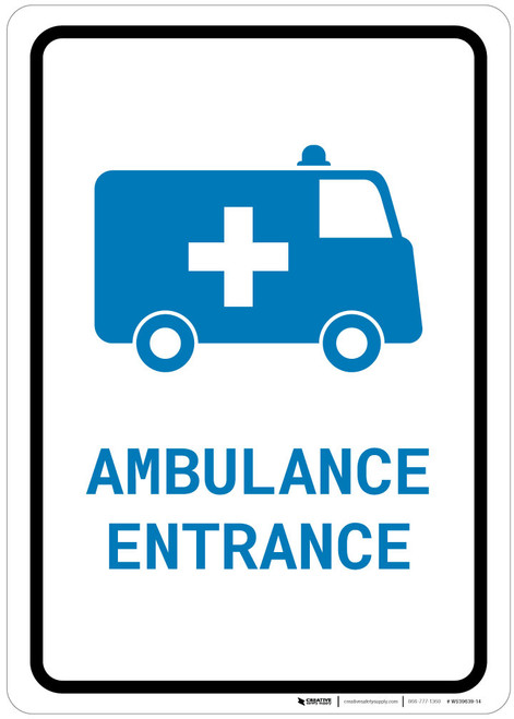 Ambulance Entrance with Icon Portrait v2 - Wall Sign