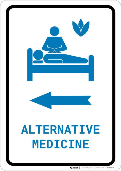 Alternative Medicine Left Arrow with Icon Portrait v2 - Wall Sign
