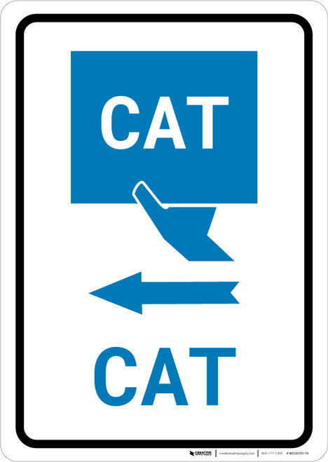 CAT Left Arrow with Icon Portrait v2 - Wall Sign