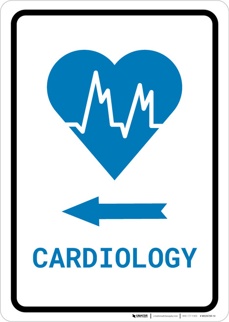 Cardiology Left Arrow with Icon Portrait v2 - Wall Sign