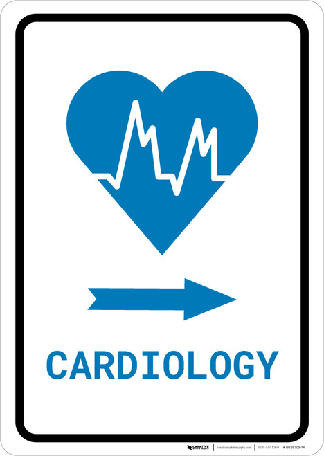 Cardiology Right Arrow with Icon Portrait v2 - Wall Sign