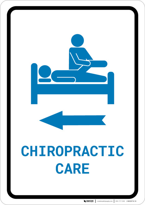 Chiropractic Care Left Arrow with Icon Portrait v2 - Wall Sign