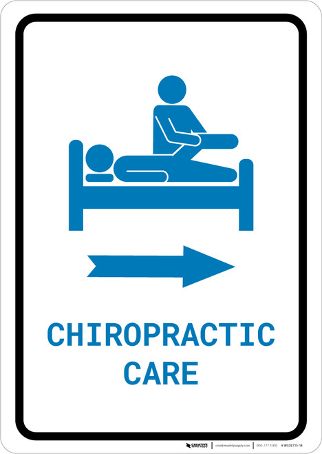 Chiropractic Care Righ Arrow with Icon Portrait v2 - Wall Sign