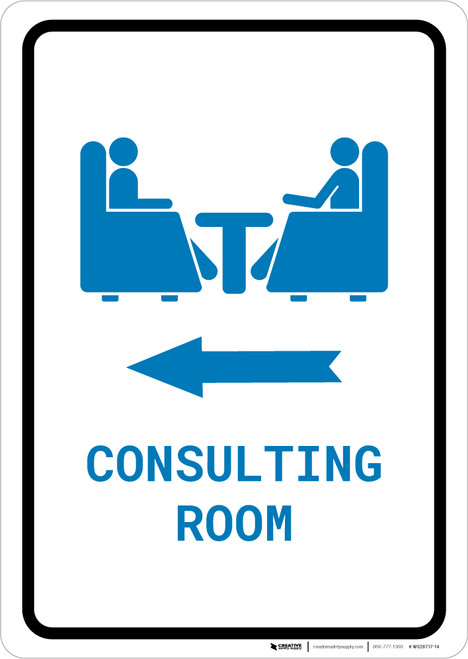 Consulting Room Left Arrow with Icon Portrait v2 - Wall Sign