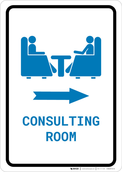 Consulting Room Right Arrow with Icon Portrait v2 - Wall Sign