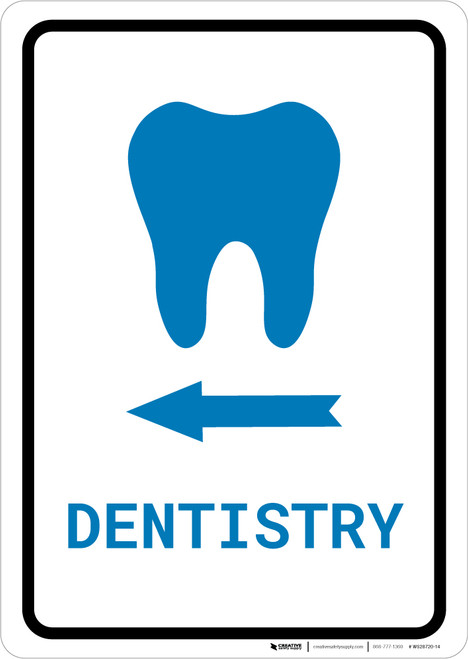 Dentistry Left Arrow with Icon Portrait v2 - Wall Sign