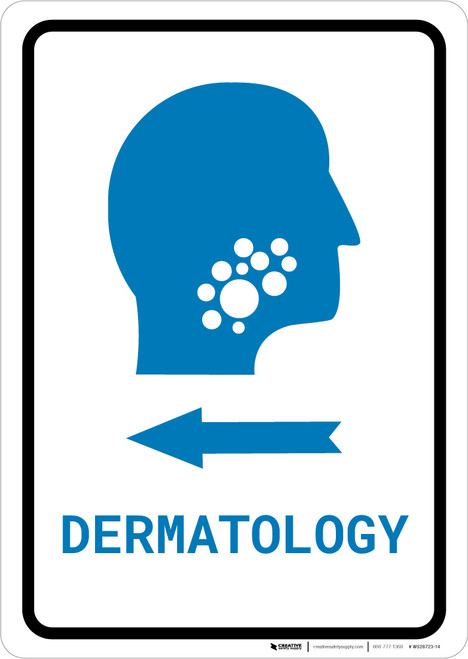 Dermatology Left Arrow with Icon Portrait v2 - Wall Sign