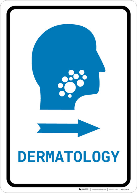 Dermatology Right Arrow with Icon Portrait v2 - Wall Sign