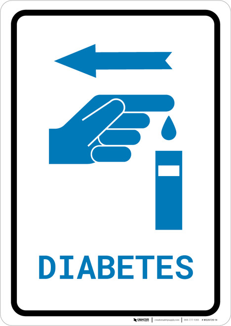 Diabetes Left Arrow with Icon Portrait v2 - Wall Sign