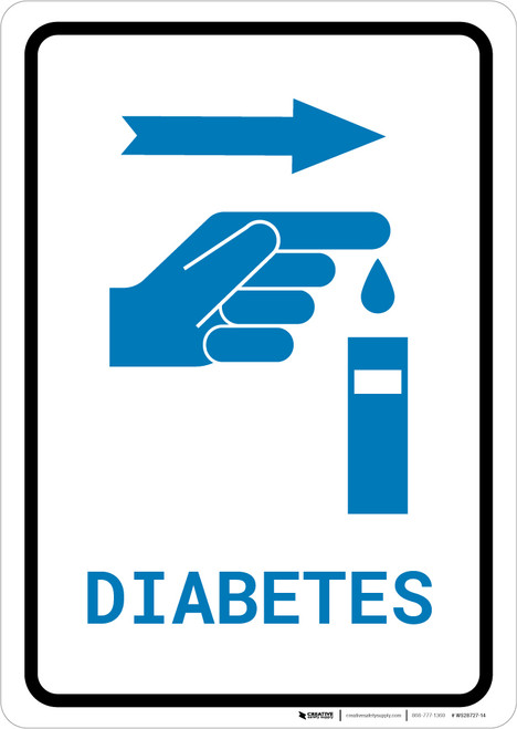 Diabetes Right Arrow with Icon Portrait v2 - Wall Sign