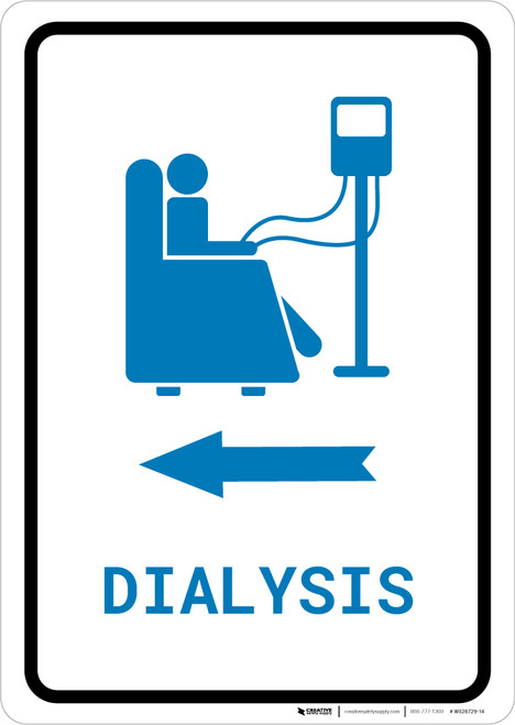 Dialysis Left Arrow with Icon Portrait v2 - Wall Sign