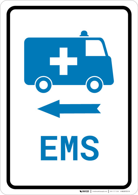 EMS Medical Van Left Arrow with Icon Portrait v2 - Wall Sign