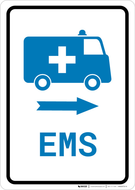 EMS Medical Van Right Arrow with Icon Portrait v2 - Wall Sign