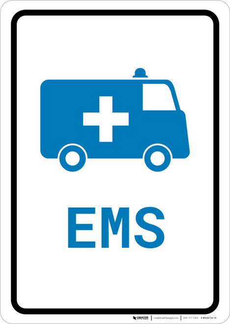 EMS Medical Van with Icon Portrait v2 - Wall Sign