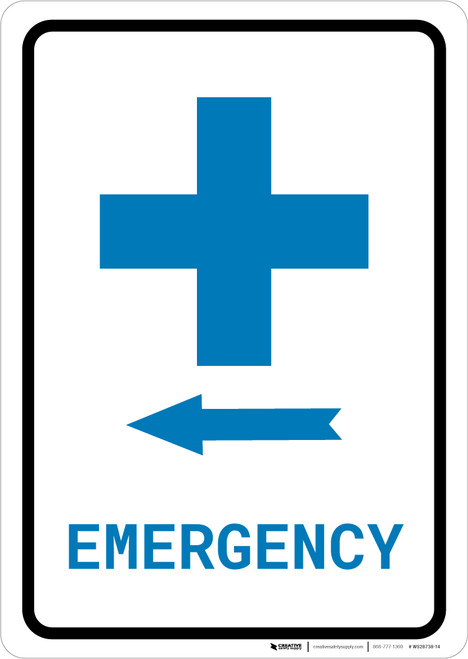 Emergency Left Arrow with First Aid Symbol Portrait v2 - Wall Sign