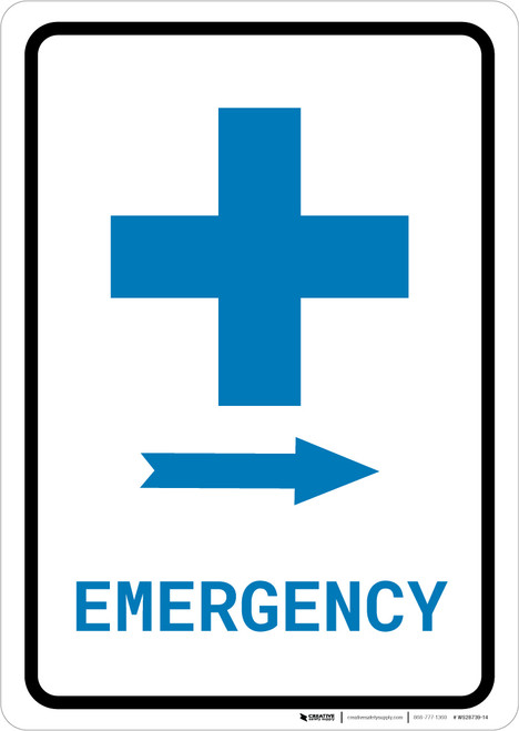Emergency Right Arrow with First Aid Symbol Portrait v2 - Wall Sign