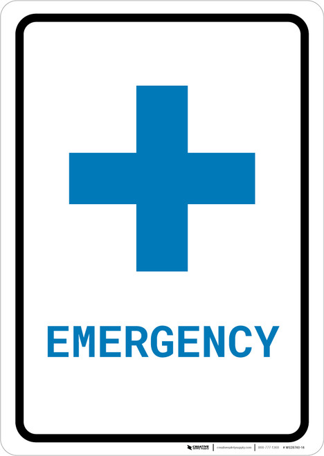 Emergency with First Aid Symbol Portrait v2 - Wall Sign