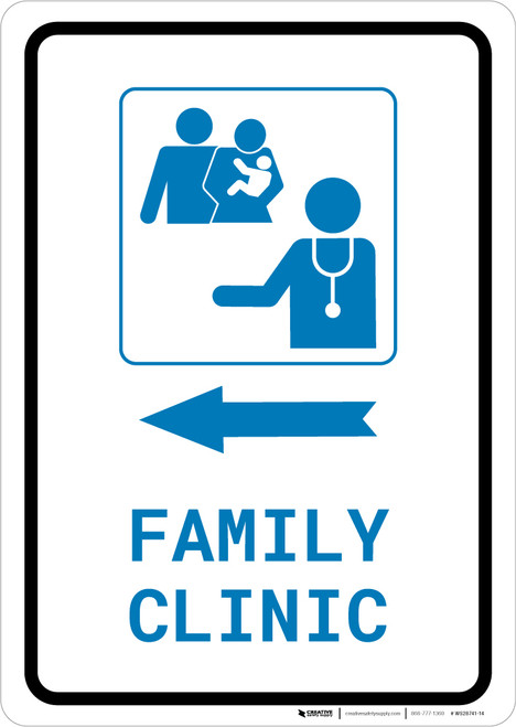 Family Clinic Left Arrow with Icon Portrait v2 - Wall Sign